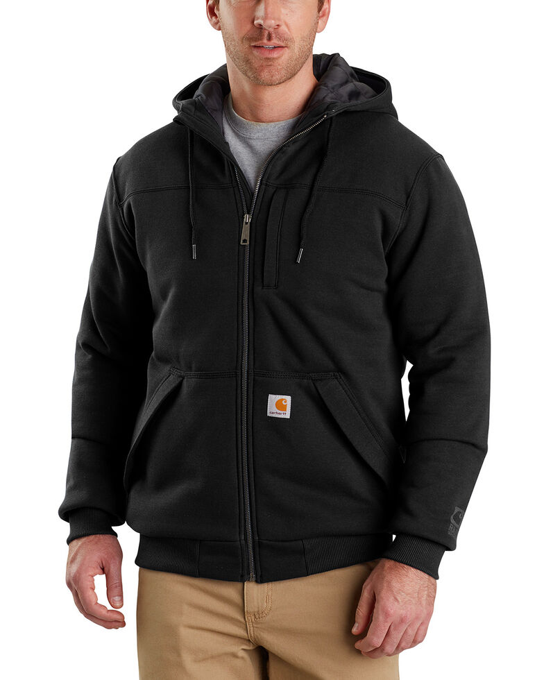 Carhartt Men's Rain Defender Rockland Quilt-Lined Hooded Work Jacket , Black, hi-res