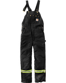 Carhartt Men's High-Visibility Striped Duck Bib Lined Overalls , Black, hi-res