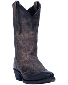 Laredo Men's Shadow Western Boots - Snip Toe, Black/tan, hi-res