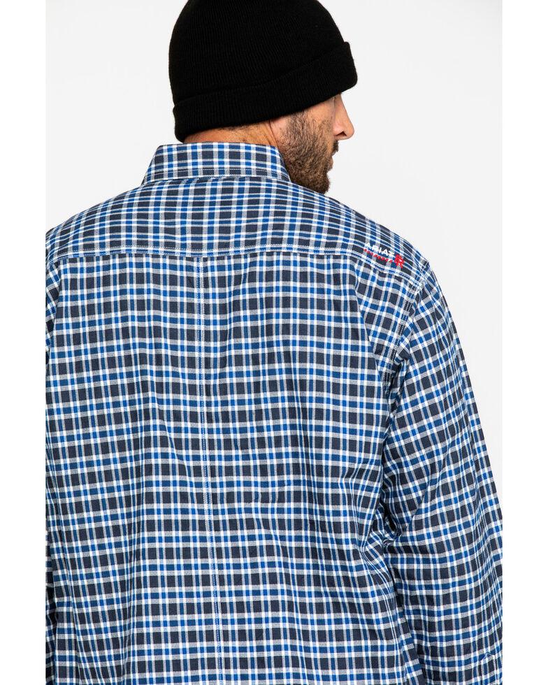 Ariat Men's Navy FR Plaid Featherlight Long Sleeve Work Shirt - Tall , Navy, hi-res