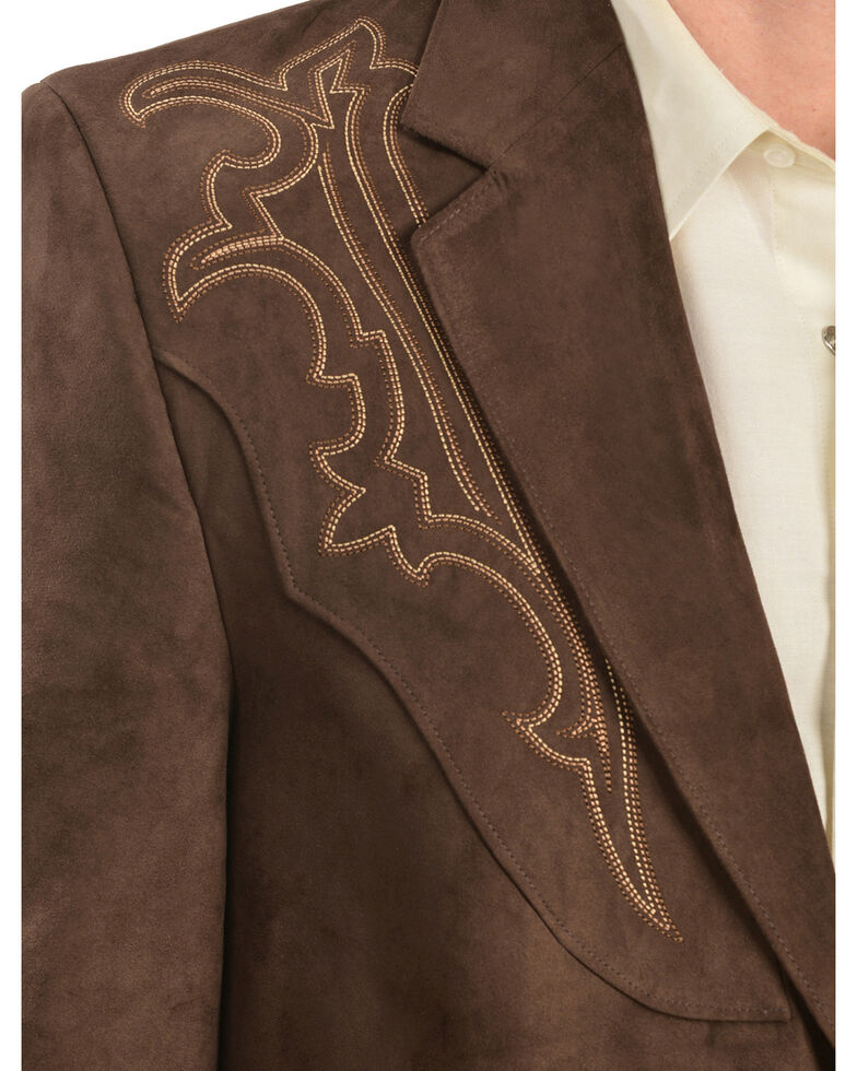 Circle S Men's Embroidered Microsuede Sport Coat, Chestnut, hi-res