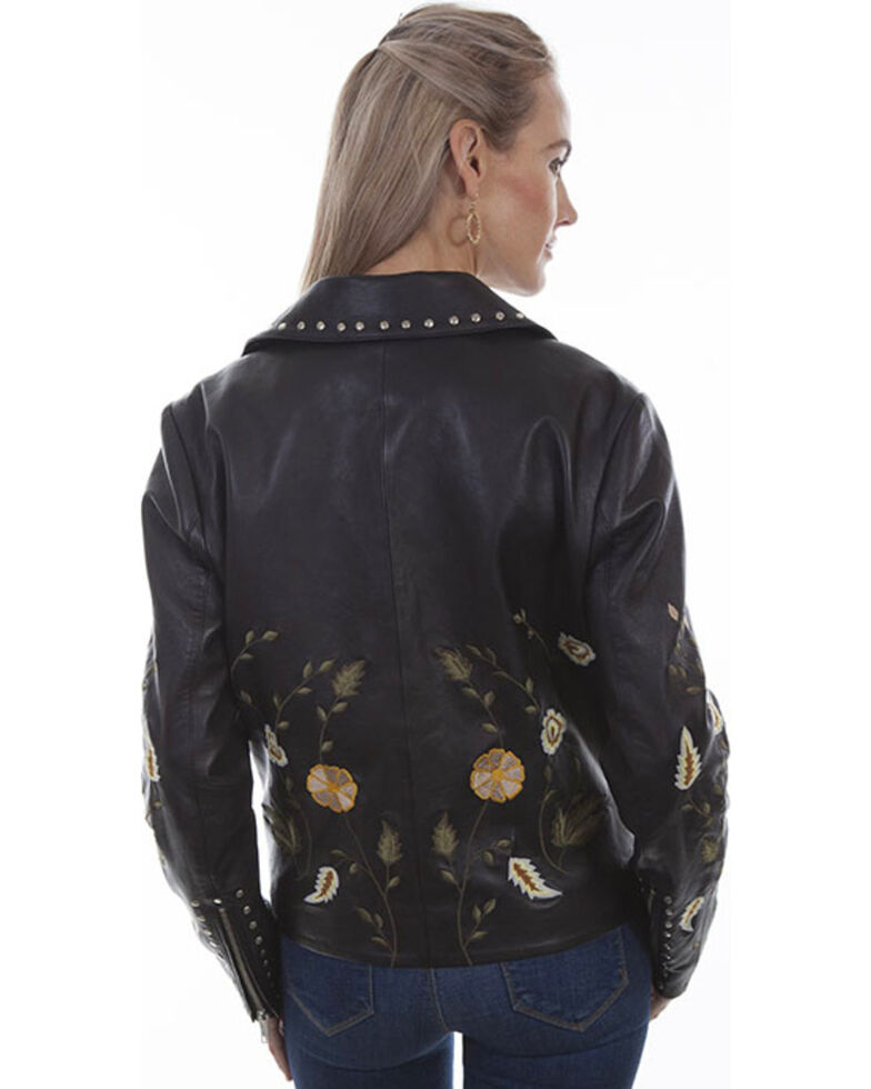Scully Women's Floral Embroidered Studded Motorcycle Leather Jacket, Black, hi-res