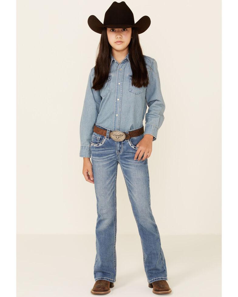 Shyanne Girls' Medium Wash Chevron Stitch Pocket Bootcut Jeans - Big, Blue, hi-res