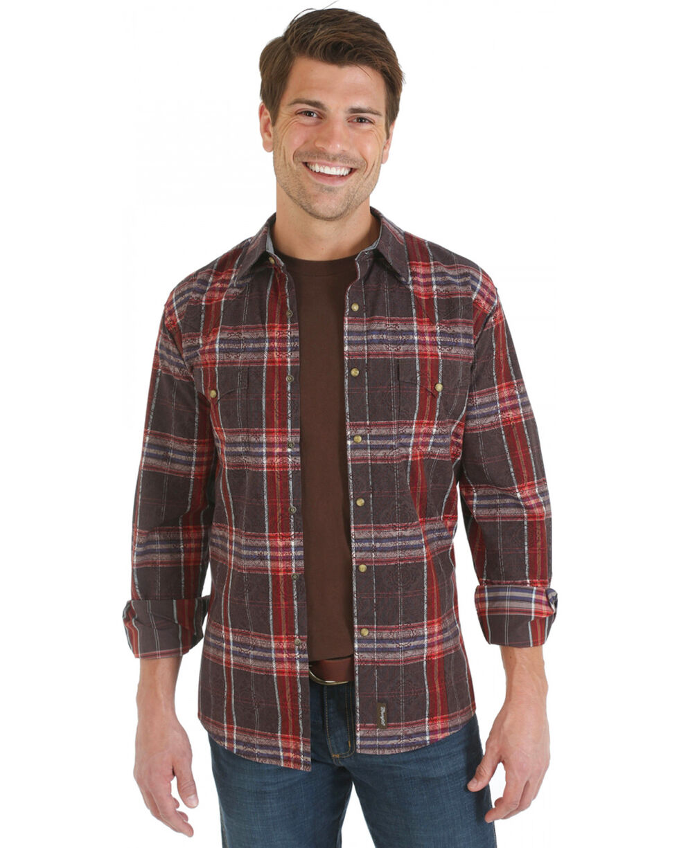 Wrangler Retro Brown, Red and Blue Plaid Overprint Long Sleeve Shirt, Brown, hi-res