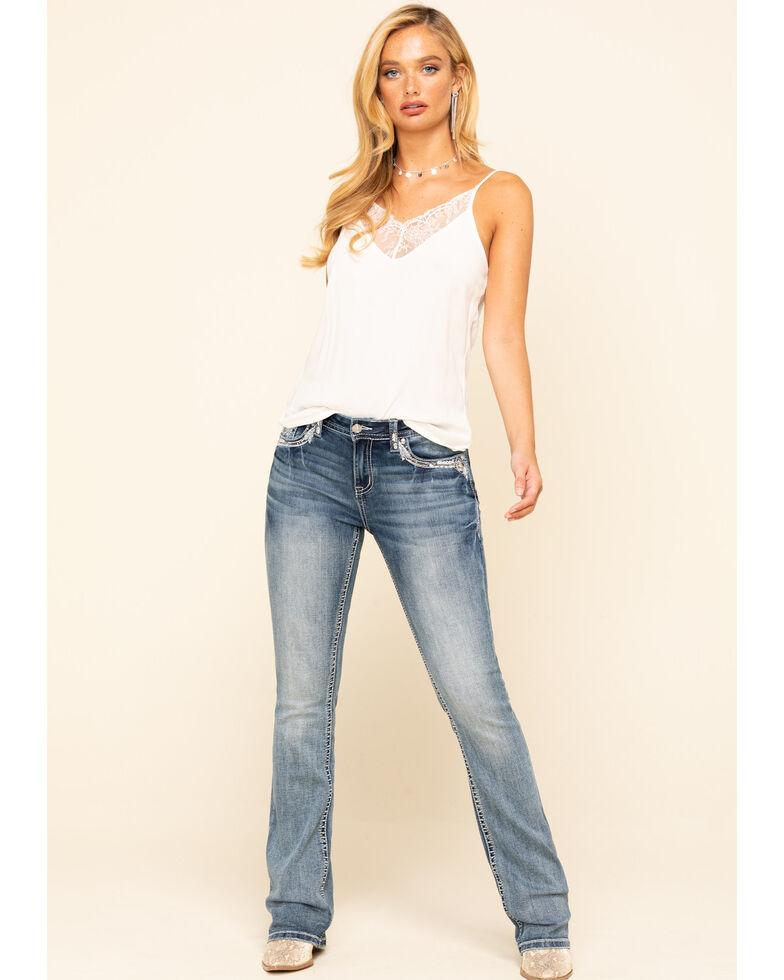 Grace in LA Women's Light Wash Embellished Bootcut Jeans , Blue, hi-res