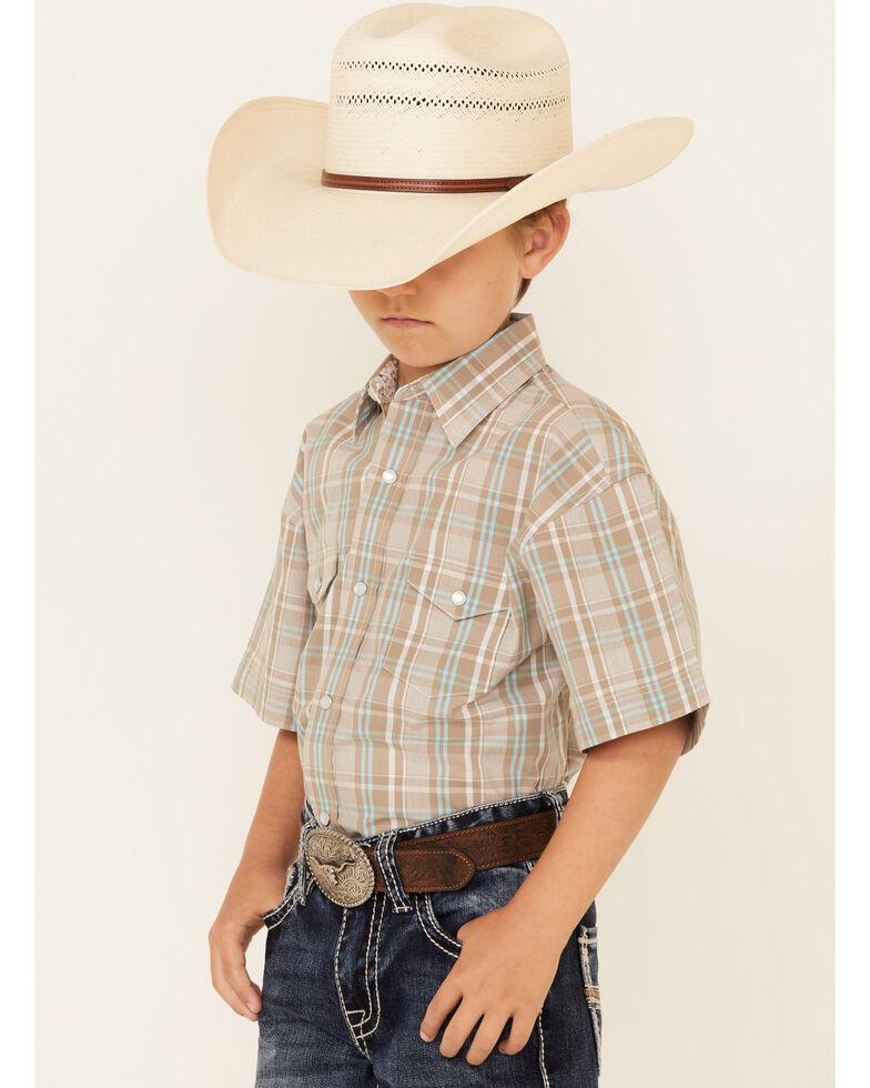 Panhandle Boys' Taupe Plaid Short Sleeve Snap Western Shirt , Beige/khaki, hi-res