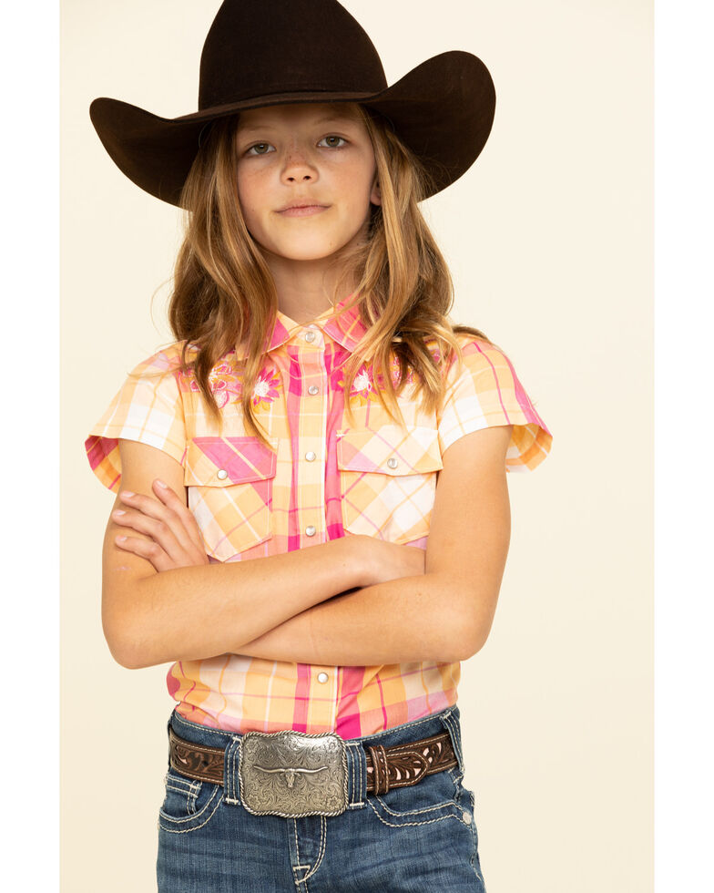 Shyanne Girls' Orange & Pink Medium Plaid Snap Short Sleeve Western Shirt, Orange, hi-res