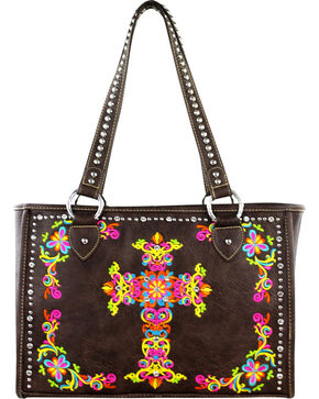 Montana West Coffee Spiritual Collection Embroidered Cross Handbag, Brown, hi-res