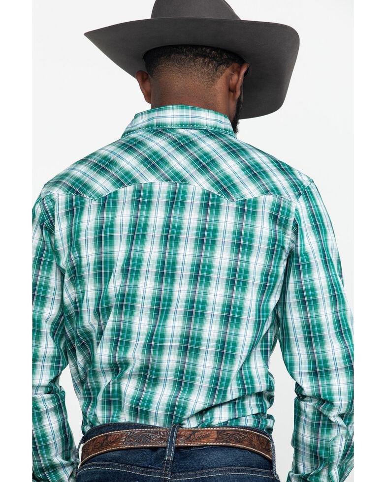 Wrangler Men's Green Small Plaid Fashion Snap Long Sleeve Western Shirt , Green, hi-res
