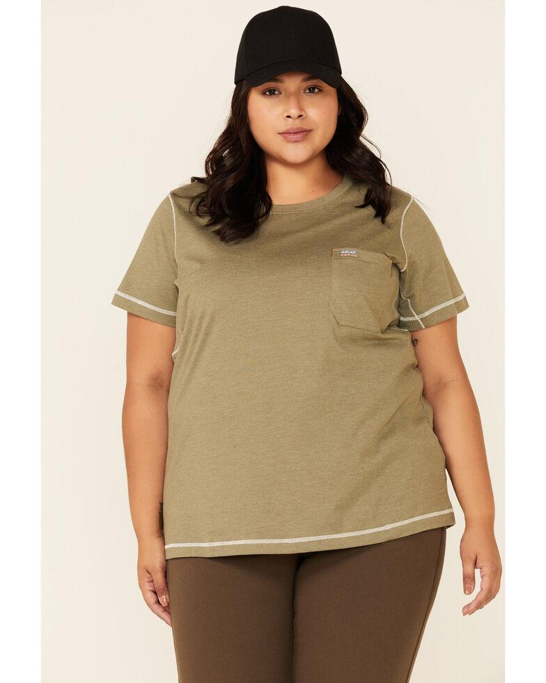 Ariat Women's Camo Rebar Workman Back Flag Graphic Short Sleeve Work Pocket T-Shirt - Plus, Sage, hi-res