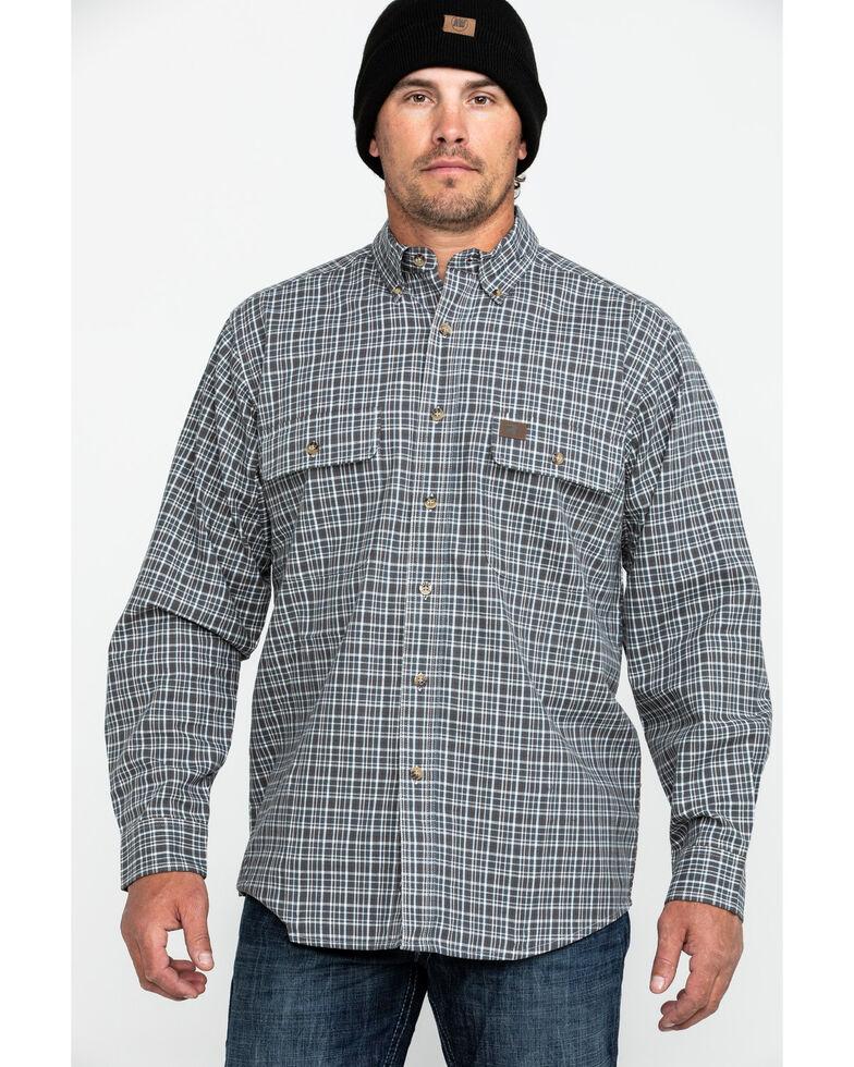 Wrangler Riggs Men's Foreman Plaid Long Sleeve Work Shirt , Grey, hi-res