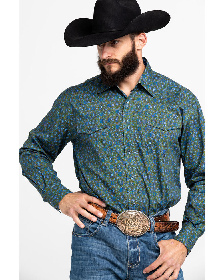 Roper Men's Green Amarillo Meadow Paisley Print Long Sleeve Western Shirt , Green, hi-res