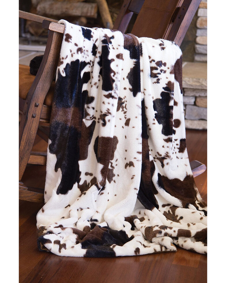 Carstens Home Faux Fur Cowhide Plush Throw Blanket, Multi, hi-res