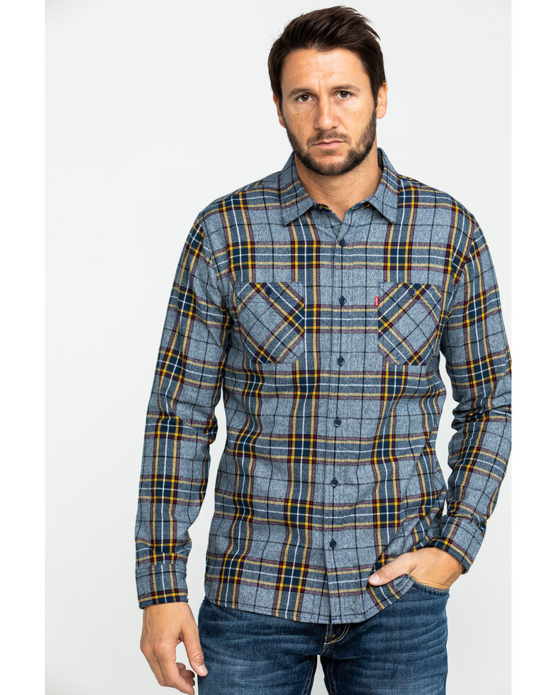 Levi's Men's Crance Plaid Long Sleeve Western Flannel Shirt , Blue, hi-res