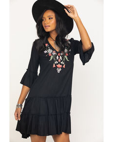 Studio West Women's Black Embroidered Bell Sleeve Dress , Black, hi-res