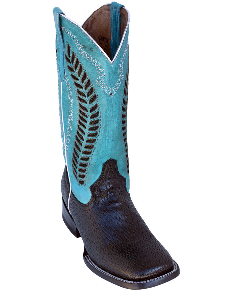 Ferrini Women's Raider Turquoise Western Boots - Wide Square Toe, Black, hi-res