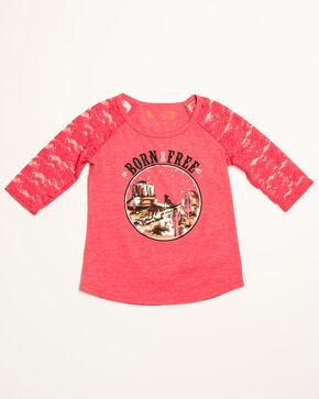 Shyanne Toddler Girls' Born Free Lace Sleeves Raglan, Pink, hi-res