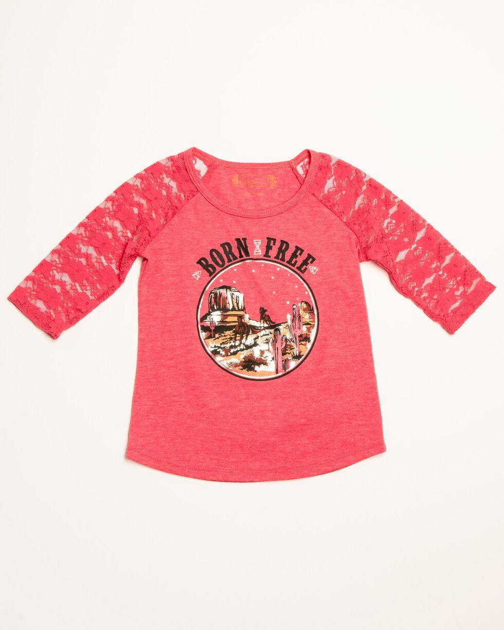 Shyanne Toddler Girls' Born Free Lace Sleeves Raglan, Pink, hi-res