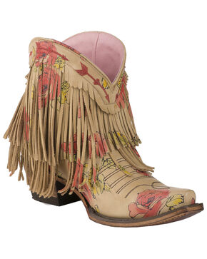 Lane Women's Spitfire Floral Fringe Booties - Snip Toe, Multi, hi-res
