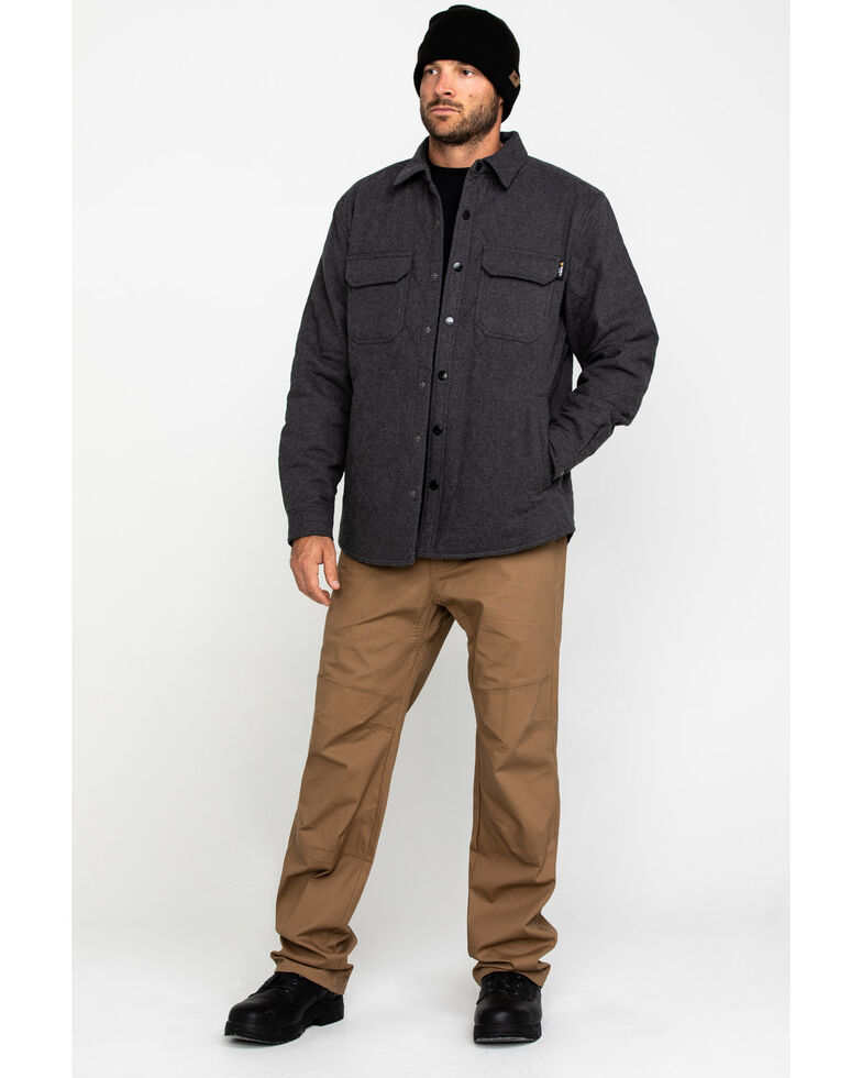 Hawx Men's Solid Grey Douglas Quilted Long Sleeve Shirt Work Jacket - Tall , Charcoal, hi-res