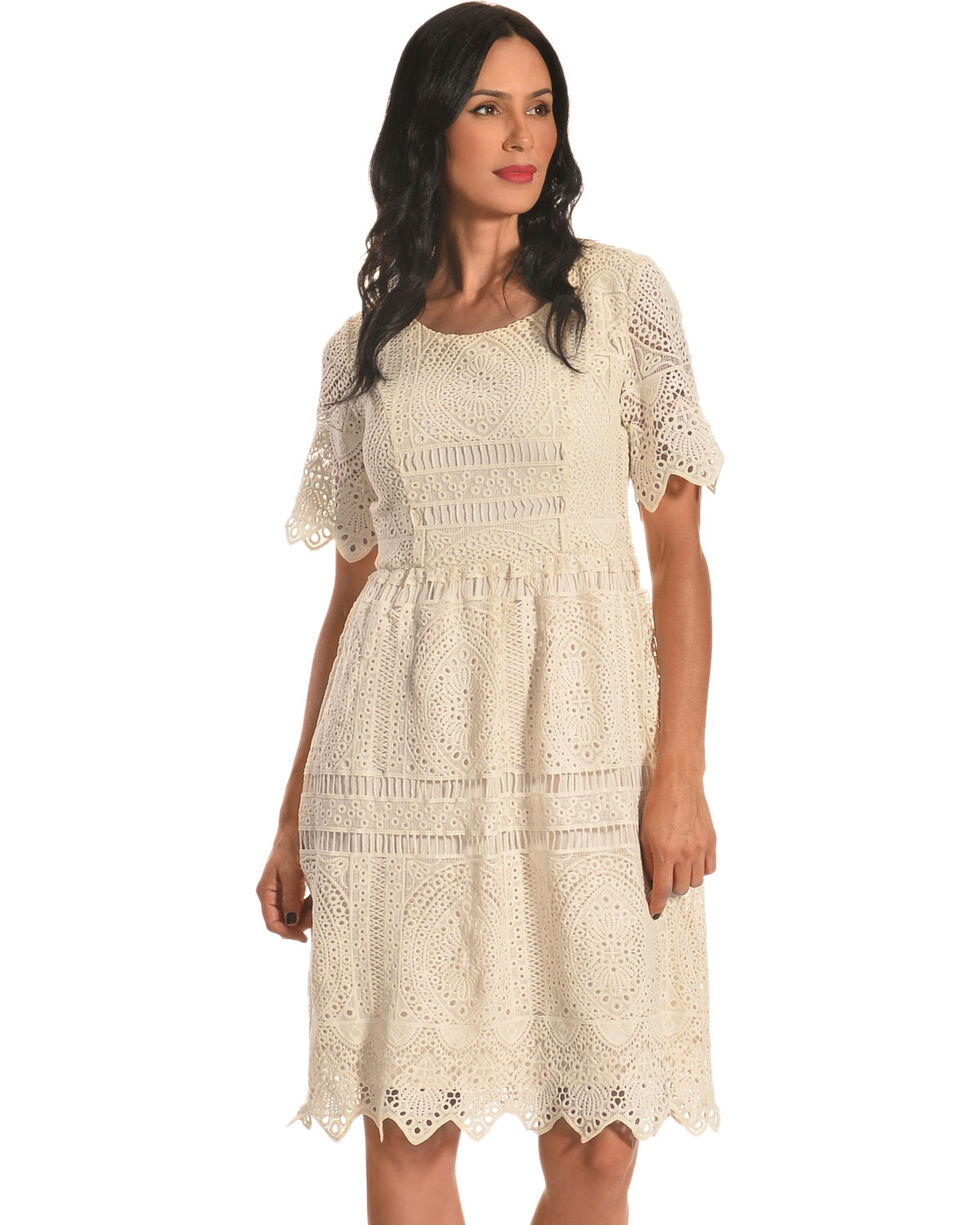 Polagram Women's Short Sleeve Lace Dress, White, hi-res