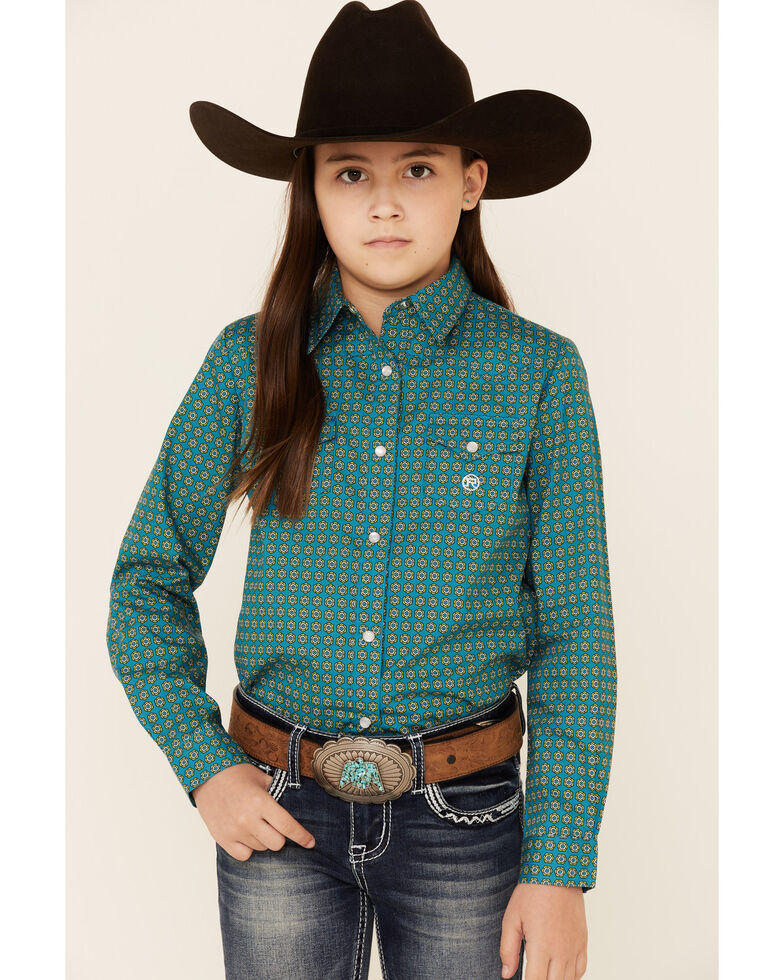 Amarillo Girls' Sweet Water Teal Foulard Geo Print Long Sleeve Western Shirt , Teal, hi-res