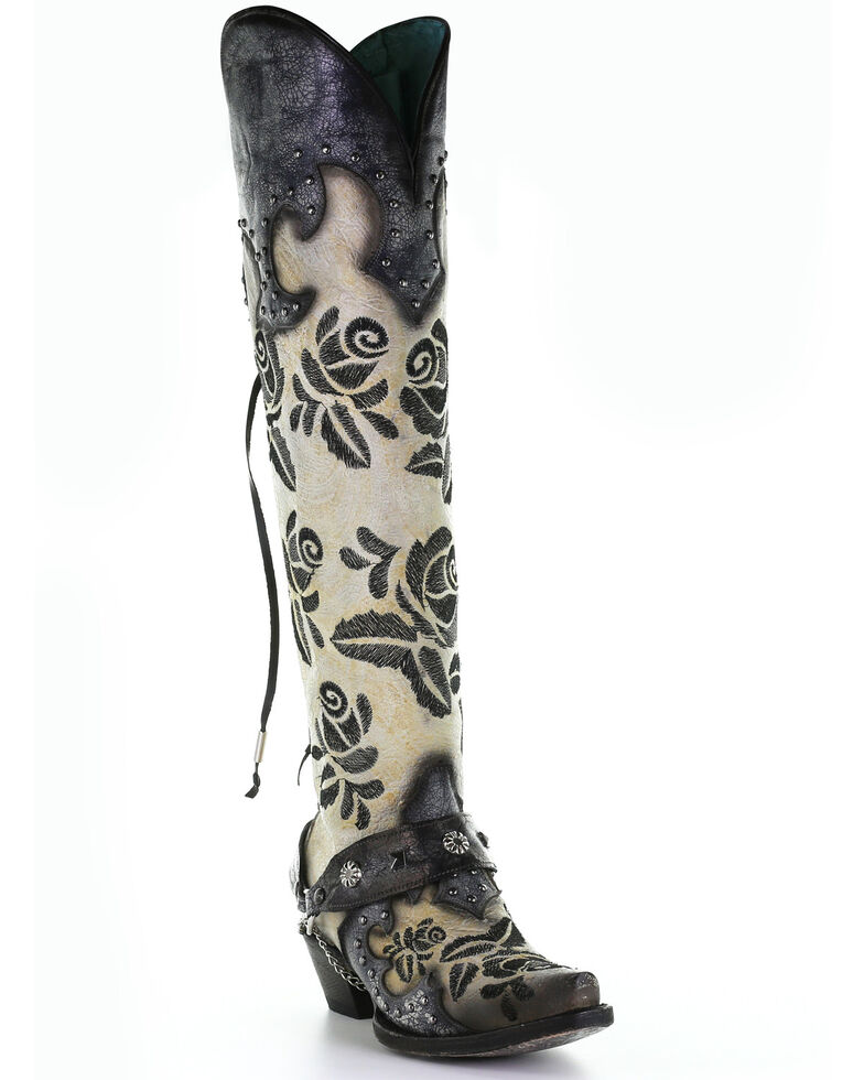Corral Women's Rose Embroidery Western Boots - Snip Toe, , hi-res