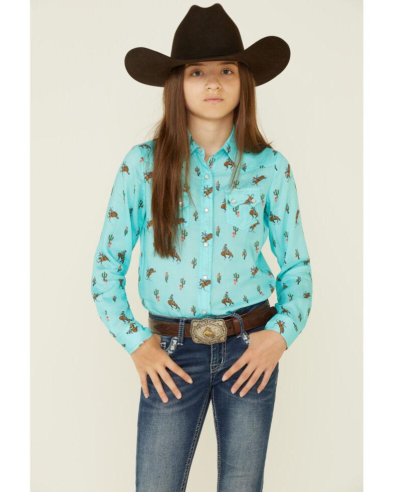 Roper Girls' Turquoise Cowboy Cactus Print Long Sleeve Snap Western Shirt  , Turquoise, hi-res
