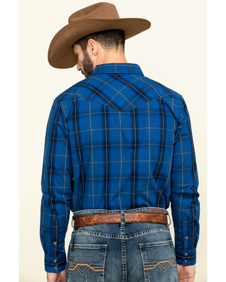 Cody James Men's Skedaddle Plaid Long Sleeve Western Shirt - Tall , Royal Blue, hi-res