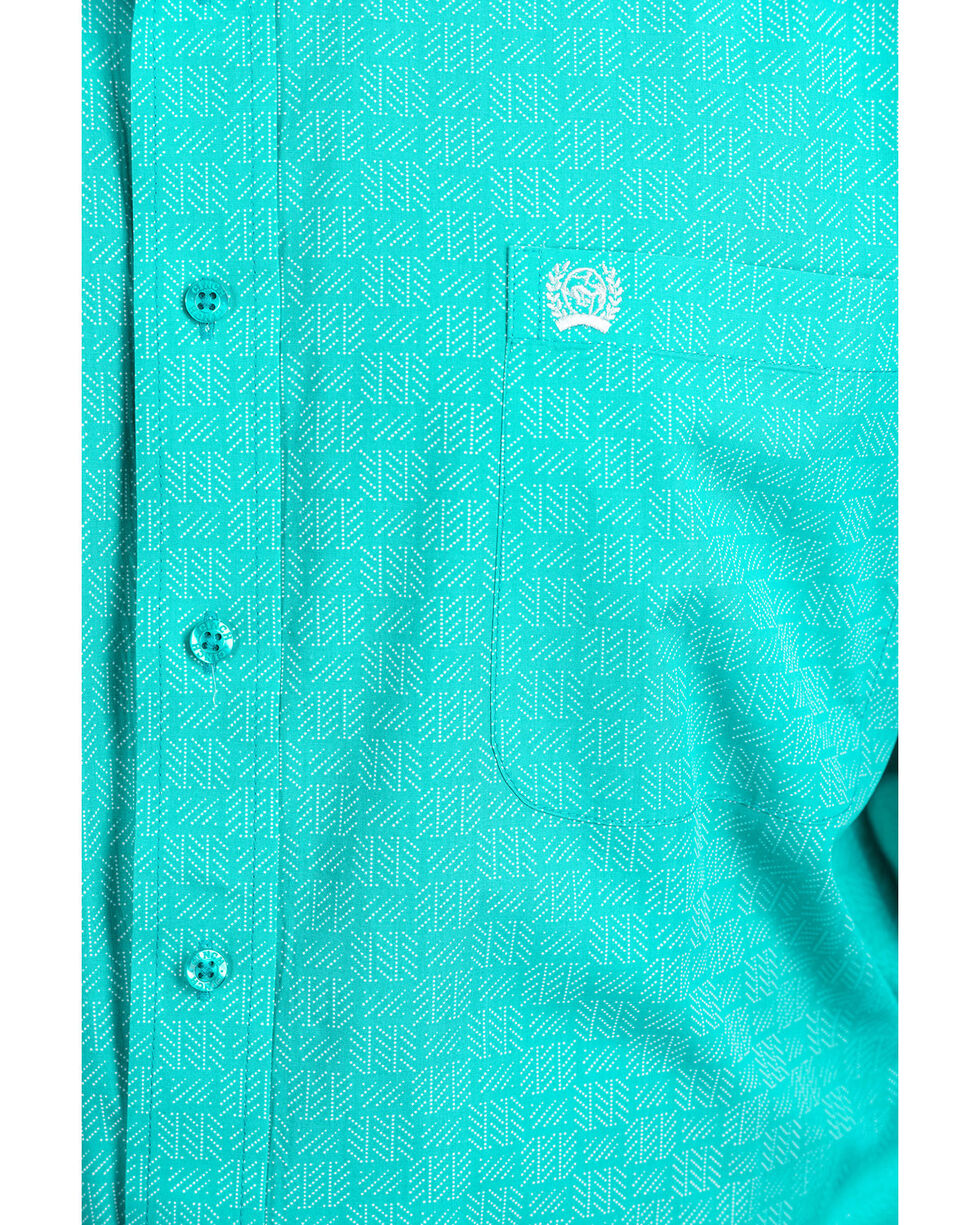Cinch Men's Turquoise Dot Tencel Geo Print Long Sleeve Western Shirt  , Turquoise, hi-res