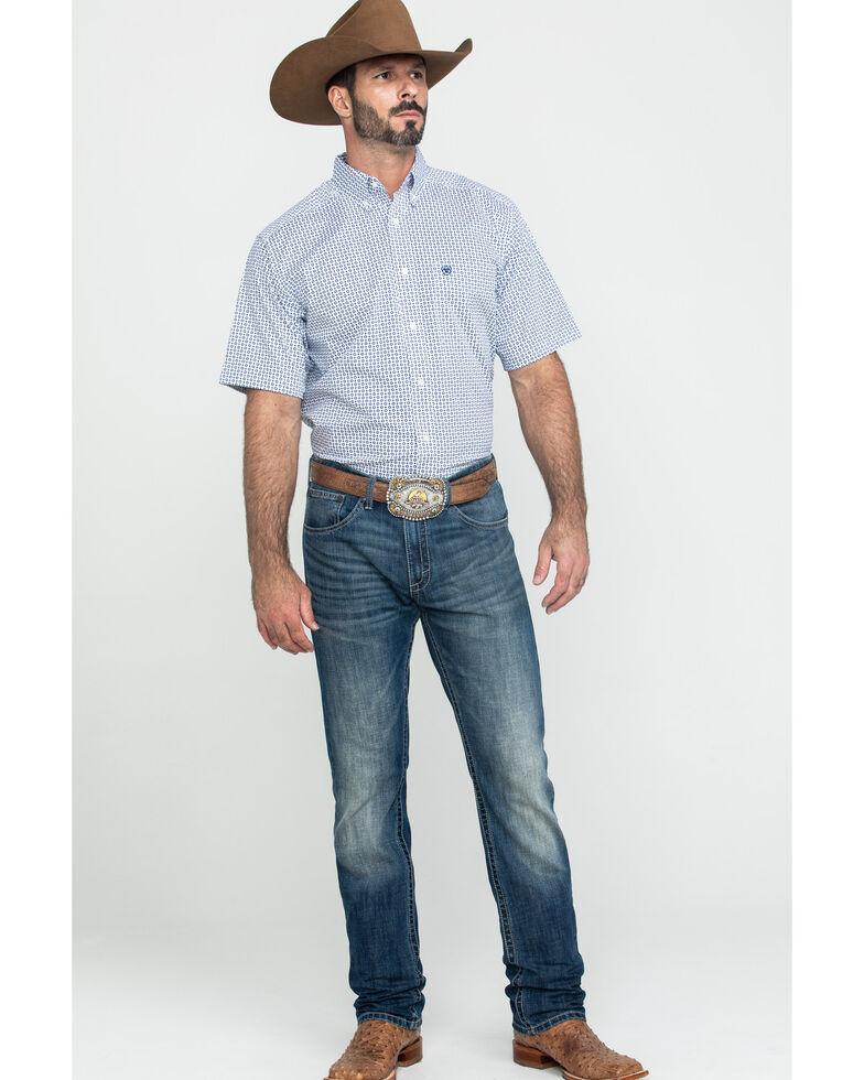Ariat Men's Gibsonton Geo Print Short Sleeve Western Shirt , White, hi-res