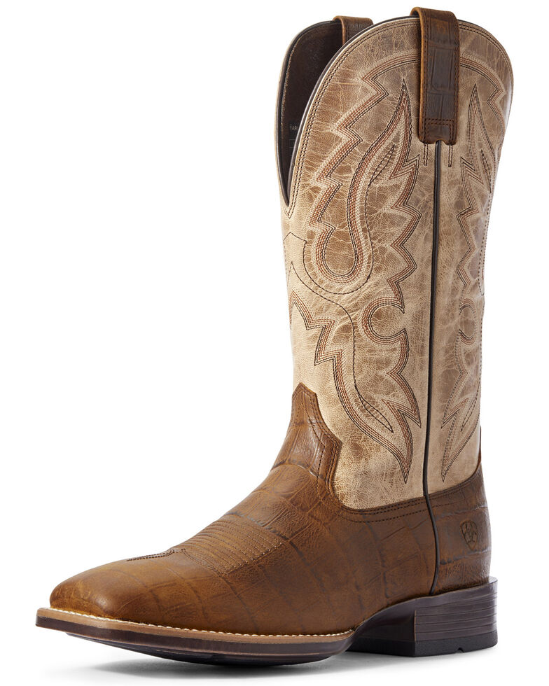 Ariat Men's Barton Ultra Croc Print Western Boots - Wide Square Toe, Brown, hi-res