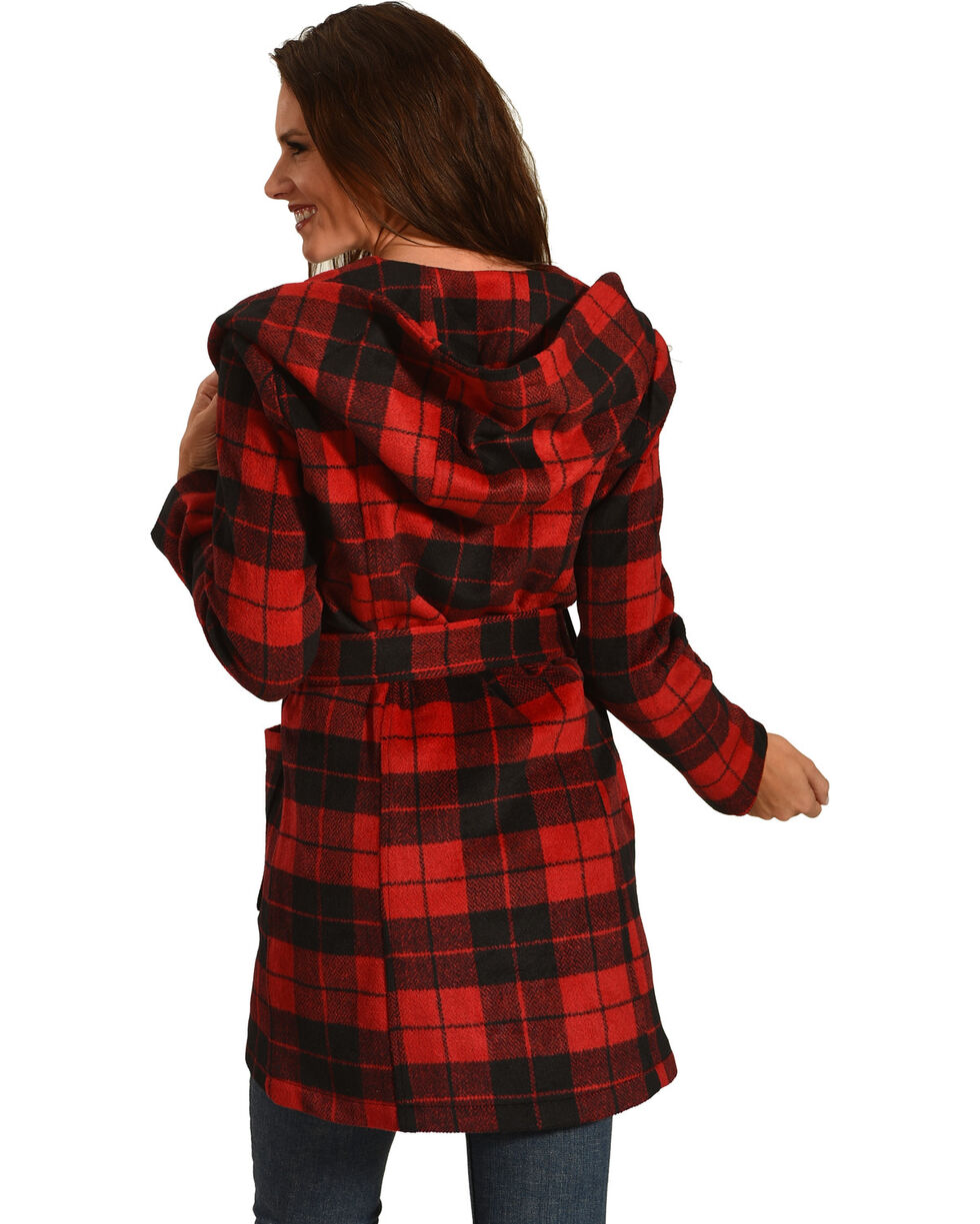 Jack Women's Stanley Buffalo Plaid Wrap Coat, Red, hi-res