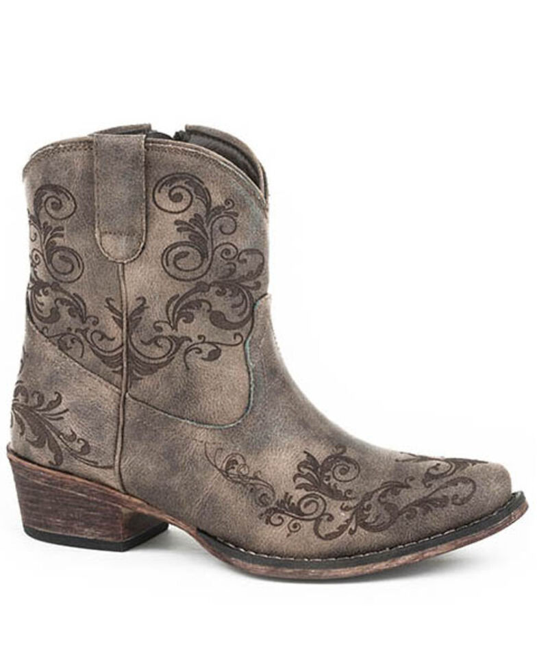 Roper Women's Vintage Faux Leather Western Boots - Round Toe, Brown, hi-res