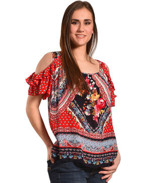 Bila Women's Red Cold Shoulder Crinkle Blouse , Red, hi-res