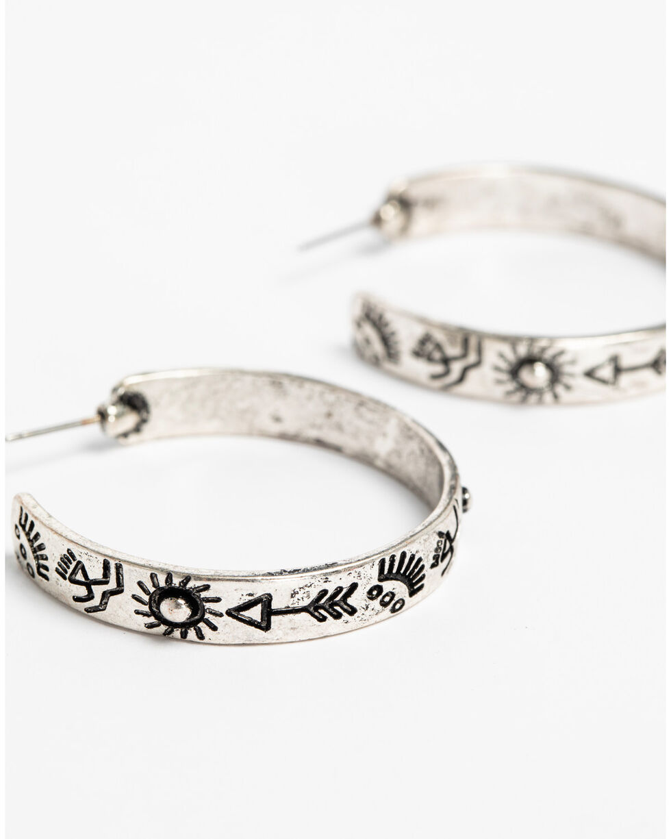 Shyanne Women's Sedona Spice Printed Hoops, Silver, hi-res