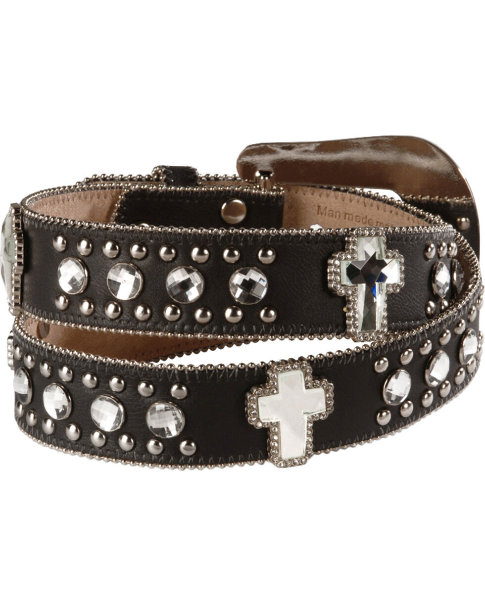 Blazin Roxx Bling Cross Leather Belt, Black, hi-res