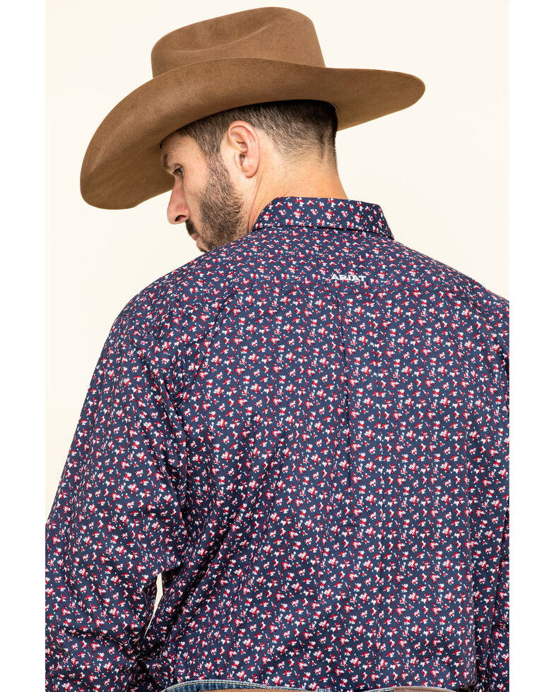 Ariat Men's Namas Stretch Floral Print Long Sleeve Western Shirt - Big , Navy, hi-res