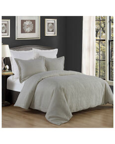 HiEnd Accents 3 Piece Gray King Matelasse Coverlet , Grey, hi-res