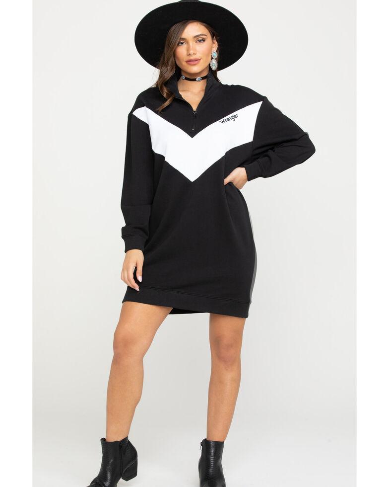 Wrangler Modern Women's Chevron Zip Sweatshirt Dress, Black, hi-res