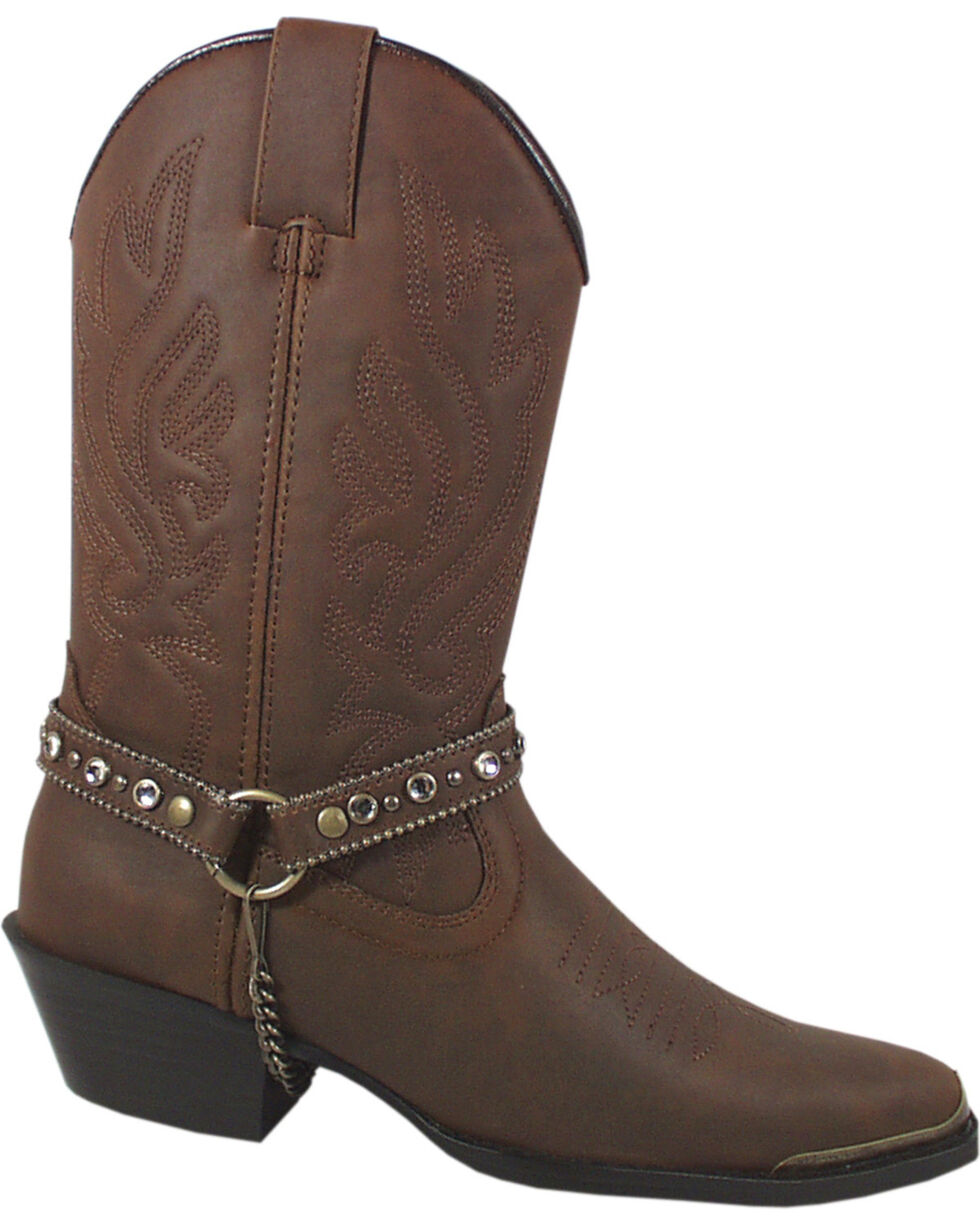 Smoky Mountain Charlotte Brown Harness Cowgirl Boots - Pointed Toe, Brown, hi-res