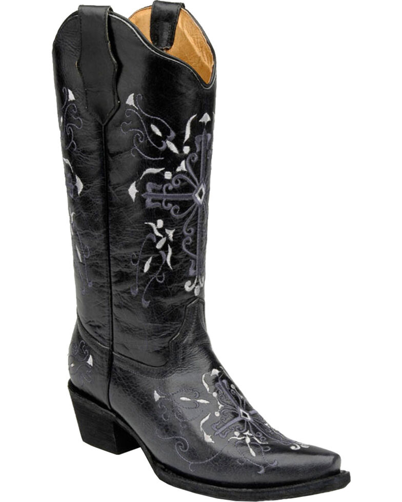 Circle G Women's Cross Embroidered Western Boots, Grey, hi-res
