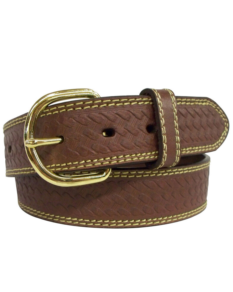 G-D Men's Top Grain Leather Belt with Embossed Weave Design , Brown, hi-res