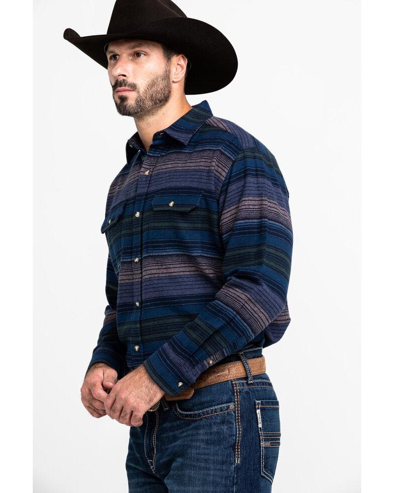 Ely Cattleman Men's Brawny Horizontal Striped Long Sleeve Flannel Shirt , Navy, hi-res