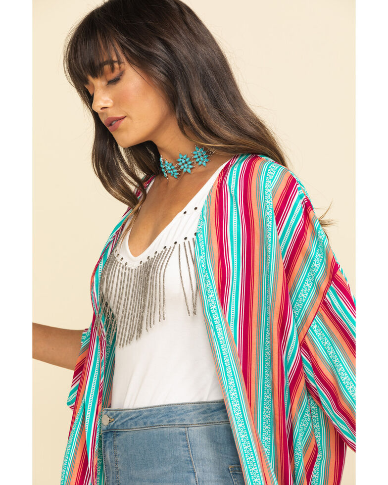 Rock & Roll Cowgirl Women's Multi-Color Stripe Kimono, Multi, hi-res