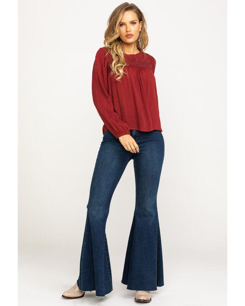 Eyeshadow Women's Red Embroidered Yoke Long Sleeve Top, Burgundy, hi-res