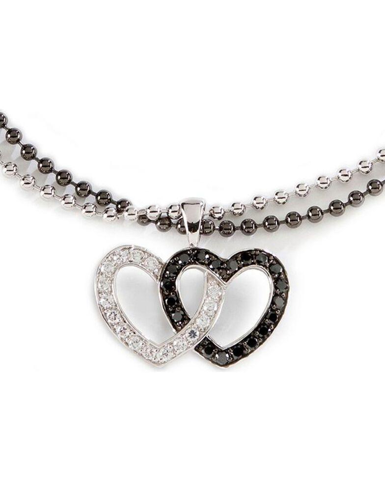 Montana Silversmiths Women's Double Heart Necklace, Silver, hi-res