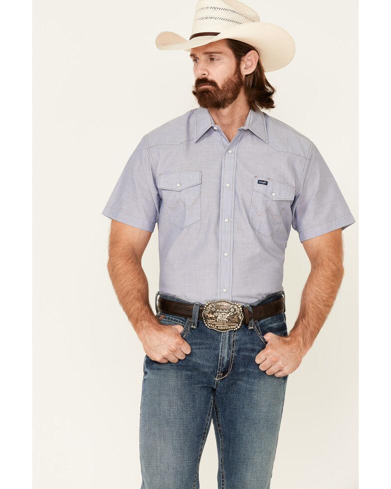 Wrangler Men's Solid Chambray Short Sleeve Work Shirt , Chambray, hi-res