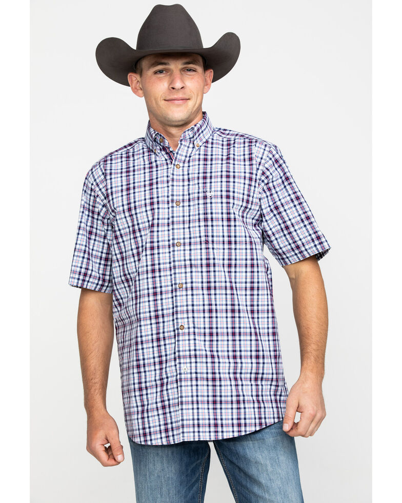 Ariat Men's Obispo Med Plaid Short Sleeve Western Shirt , White, hi-res