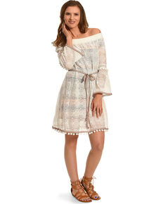 Young Essence Women's Long Sleeve Pompom Lace Dress, White, hi-res